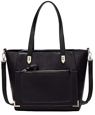 Women's Vintage Fine Fibre Genuine Leather Bag Tote Shoulder Bag Handbag Model Cronos Black