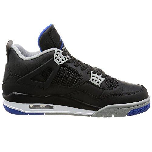 Jordan Men Air Jordan 4 Retro black game royal-matte silver-white Size 13.0 US