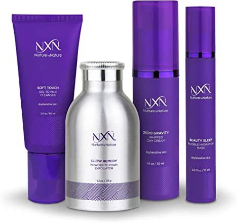 NxN Total Moisture 4 Piece Anti-Aging Skin Care System, With Vitamin C & Natural Retinol, Hydration Mask, Whipped Day Cream, Gel-Milk Cleanser & Exfoliator, Clinically Proven for Dry/Sensitive Skin
