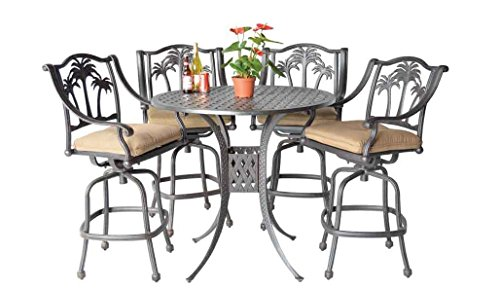 Palm Tree Cast Aluminum Powder Coated 5pc Bar Set with 48