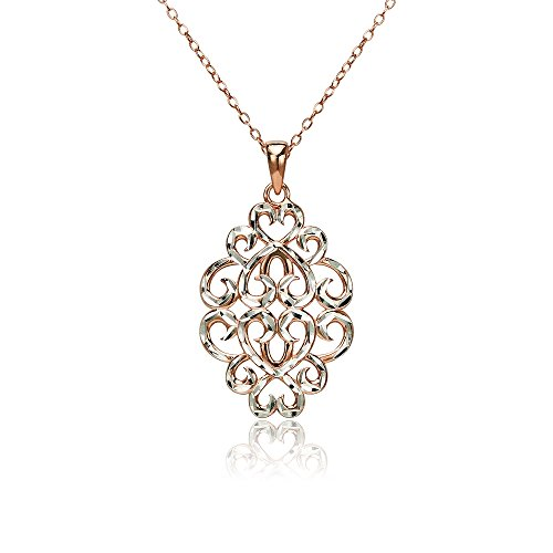 (Rose Gold Flashed Sterling Silver Two-Tone Diamond-cut Filigree Swirl Hearts Necklace)