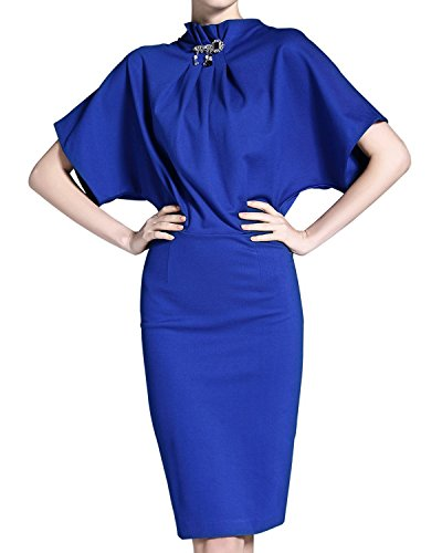 Cocktail Women's Midi Sleeve Batwing Stand Blue Pencil Elegant Knee Length Burdully Dress Dresses Waist Collar High Odpfqn