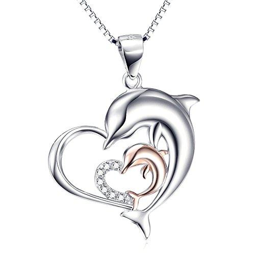 DAOCHONG Sterling Silver Double Dolphin Heart CZ Heart Shape Pendant Necklace 18