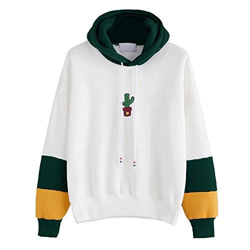 HGWXX7 Women Hoodie Sweatshirt Cactus Print Long Sleeve Tops Blouse Hooded Pullover(L,Green)