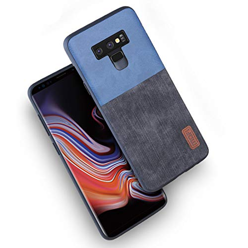 Samsung Galaxy Note 9 Cases,Mofi to Hybrid Anti-Scratch Shock-Resistant Cover Soft Silicone Jeans Leather Bumper 360 Protector Shockproof Shell for Samsung Galaxy Note 9 Cases (Black+Blue)