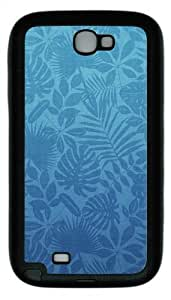 Green Leaves Pattern TPU Rubber Samsung Galaxy Note 2/ Note II/ N7100 Case Cover - Black