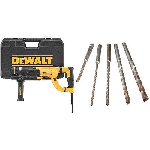 DEWALT D25262K D-Handle SDS Rotary Hammer with Shocks 1'' with DEWALT DW5470 5-Piece Rock Carbide SDS Plus Hammer Bit Set