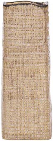 D vine Dev Grid Textured Ceramic Square Flower Vase for Home D cor Tall Vase, 12 Inch, Light Brown