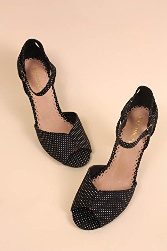 Cutout Dots Toe Strap Peep Ankle Restricted Dancing Pumps Black P6xWZ
