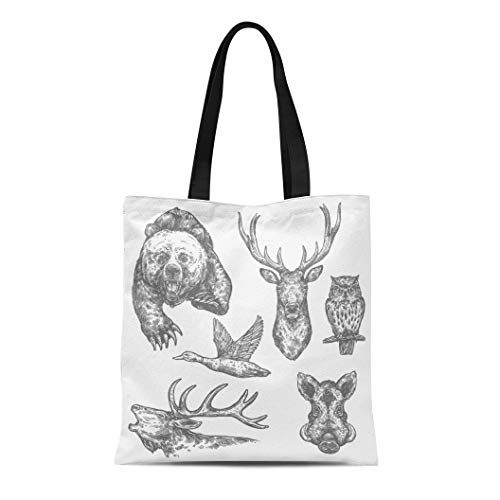 Semtomn Canvas Bag Resuable Tote Grocery Adorable Shopping Portablebags Wild Animal and Bird Sketch with Bear and Deer Moose and Owl Boar Elk and Duck Natural 14 x 16 Inches Canvas Cloth Tote Bag
