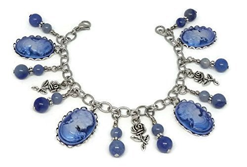 Vintage Blue Cameo Charm Bracelet- Antique Style Jewelry with gemstones