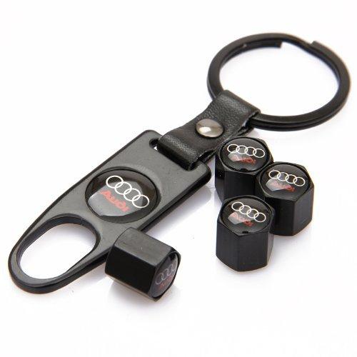 CzlpV Black Car Wheel Tire Valve Caps Tyre Stem Air Caps Keychain Styling For (Audi Valve)