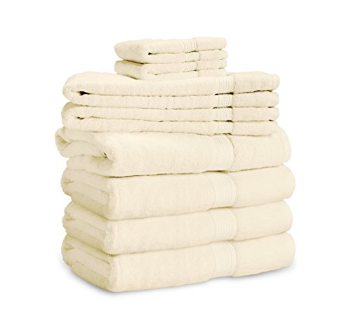900 GSM 8 Piece Towel Set - Luxurious 100% Long Staple Cotton, Heavy Weight & Absorbent - 4 Large Bath Towels 30x55, 2 Hand Towels 20x30, 2 Face Towels 13x13 by eLuxurySupply