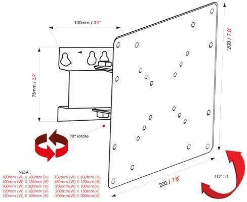 Fully flexible swivel bracket version 4 For 26″-32″ TVs