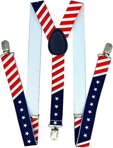 Trilece Suspenders for Men - Adjustable Elastic Y Back Style Suspender - Strong Clips (USA Flag)