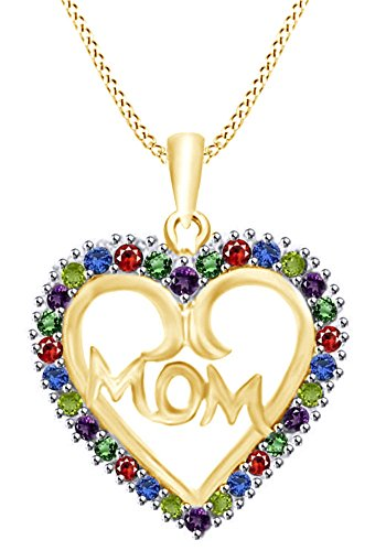 AFFY Round Cut Simulated Multi Gemstone Mom Heart Pendant in 14k Yellow Gold Over Sterling Silver (0.30 Cttw) ()
