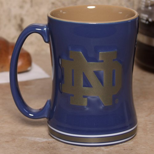 Notre Dame Fighting Irish 15 Ounce Sculpted Logo Relief Coffee Mug