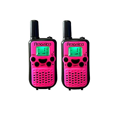 Amanico Pink Kids Walkie Talkies, Kinds of Channel FRS/GMRS 2 Way Radio 2 miles (up to 3.7 Miles) UHF Handheld 4.1 In Length for Children kids Child Boys Girls Teens (1 Pair), Pink