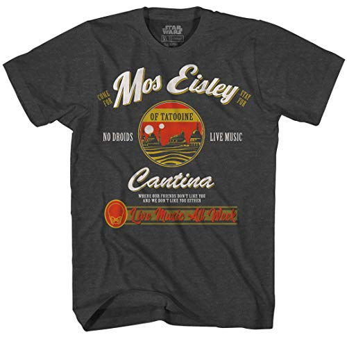 Star Wars Mos Eisley Cantina Tatooine Men's Adult Graphic Tee T-Shirt (Charcoal Heather, Large)