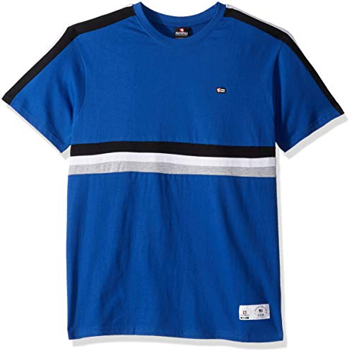 Southpole Men's Stripe Short Sleeve Fashion Tee, Royal Color, Large (Tech 10 Graphics)