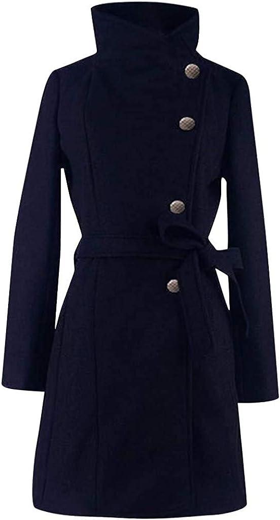 Finzaal Women With Belt Double Breasted Long Sleeve Top Coat Outwear Flare Wool Blend Lapel Long Buckle Mid Dresses Spring