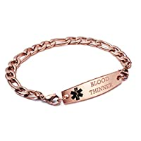 linnalove-Rose Gold Figaro Chain Interchangeable Medical id Bracelets-Free Engraving