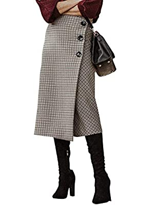 BerryGo Women's Plaid Split Skirt Button High Waist Midi Skirts