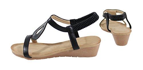 Mujer Negro para Sandalias by Shoes TnqOO6z