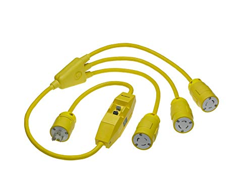 Woodhead 2647E123IN Super-Safeway Cordset, Inline GFCI, Industrial Duty, Locking Blade, 2 Poles, 3 Wires, NEMA L5-20 Configuration, 12-Gauge SOOW Cord, Rubber, Yellow, 20A Current, 125V Voltage, 1ft Cord Length by Woodhead (Image #2)