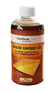Furniture Clinic Boiled Linseed Oil for Wood Furniture & More | 17 oz Refined Oil | Glossy Finish for furniture, table tops, stone & metal