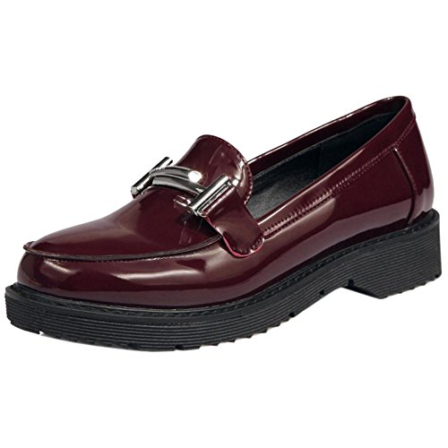 COOLCEPT Women Low Heel Pumps Shoes Claret H94JH