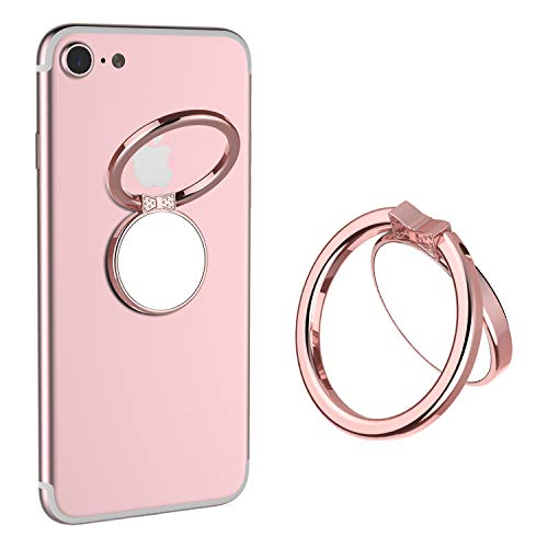 Mirror Cellphone Ring Stand Holder,VASIVO Smart Phone Ring Holder Series Stylish 360°Rotation 180°Flip Ring Stand Grip Mount for Smartphones (Rose Gold)