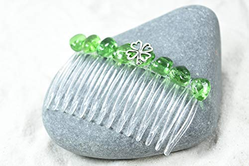 Irish Shamrock Green Obsidian Hair Comb (QTY 1) by DejaVu Designs