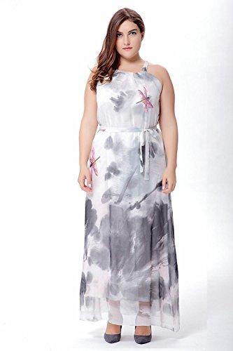 Vestido bohemio de la gasa grande del tamaño de la impresión sin mangas del verano nuevo , a , 3xl