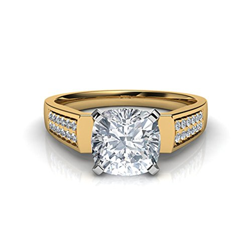 (luxrygold 1.10Ctw Cushion & Round Sim Diamond 14K Yellow Gold Pl Flat Edged Cathedral Engagement Ring)