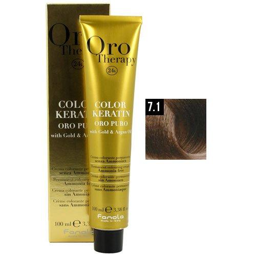 (Fanola Oro Puro 7.1 Medium Blonde Ash Hair Coloring Cream )
