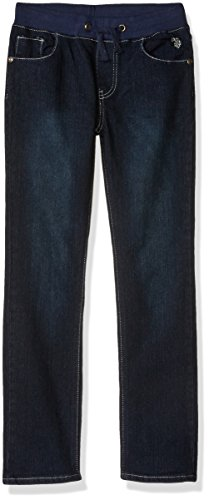 U.S. Polo Assn. Big Boys' Straight Leg Denim Jean, Pull-On Drawstring Dark Crinkle, 18