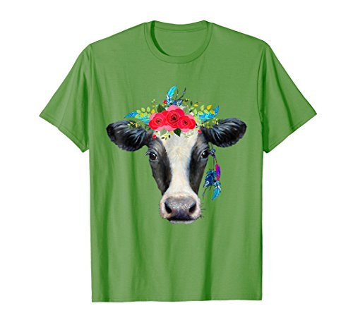 Mens Hippie Cow Cute T-Shirt 3XL (Male Hippie)