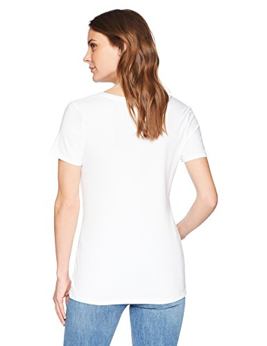 Amazon Essentials Women's 2-Pack Short-Sleeve V-Neck Solid T-Shirt, Black/White, Small by Amazon Essentials (Image #3)
