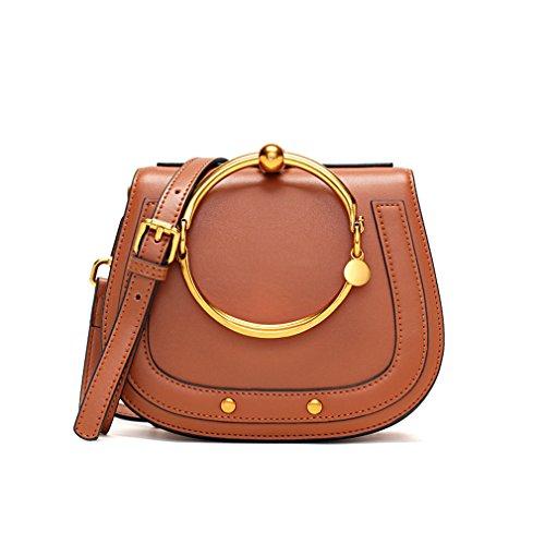 NEW Genuine Leather Double Big Metal Circle Rings Saddle Rivets Handbags Vintage Crossbody Messenger Shoulder Bags Women Female Brown