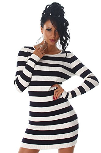 Luxestar - Vestido - Estuche - Rayas - Manga Larga - para mujer azul marino