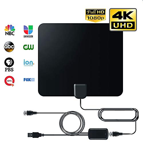 2020 Antenna Adapters - Digital HDTV Antenna (2020 Early Release), 50 to 80 Mile Amplified Range, 1080p & 4K UHD TV Compatible, 13ft Cable