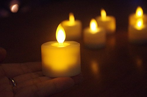 LED Tea Light Candles,Battery Operated Warm White Flameless Window Pillar Candle Bluk With Dancing Flickering Bulb For Christmas/Wedding/Birthday Party-Pack Of 6 by Burning Sister (Image #4)