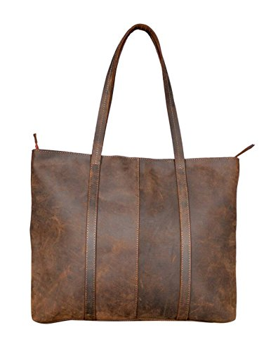 Women's Rustic Vintage Genuine Leather Tote Shoulder Bag Handmade Handbag