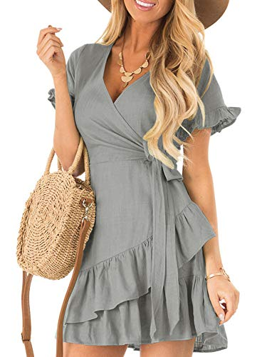 Kathemoi Womens Ruffle Dresses Summer Cute V Neck Short Sleeve Beach Wrap Mini Dress Grey