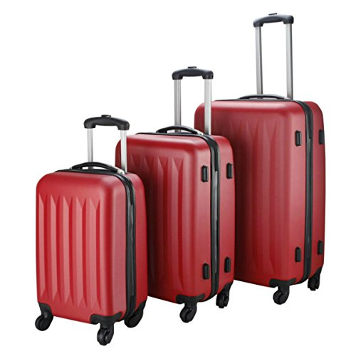3 Pcs Lightweight Hard Shell Suitcases Luggage Travel Set Bag ABS+PC Trolley Suitcase Red by Eosphorus