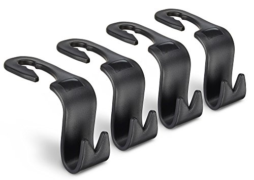 Juvale Back Seat Car Hooks - 4 Pack Vehicle Headrest Hanger SUV Storage Space Saving Backseat Hooks Organizing Tool for Handbags, Grocery Bags, and Coats