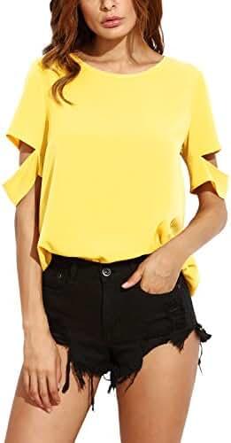 ZANZEA Women's Split Back Ripped Short Sleeve Round Neck Casual T-Shirt Tops