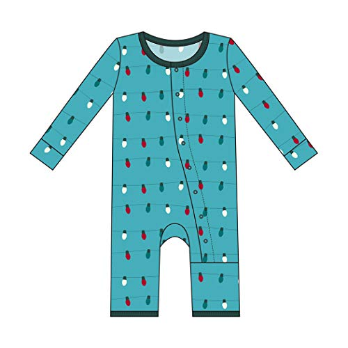 Kickee Pants Little Boys and Girls Holiday Print Coverall with Snaps - Glacier Holiday Lights, 9-12 Months