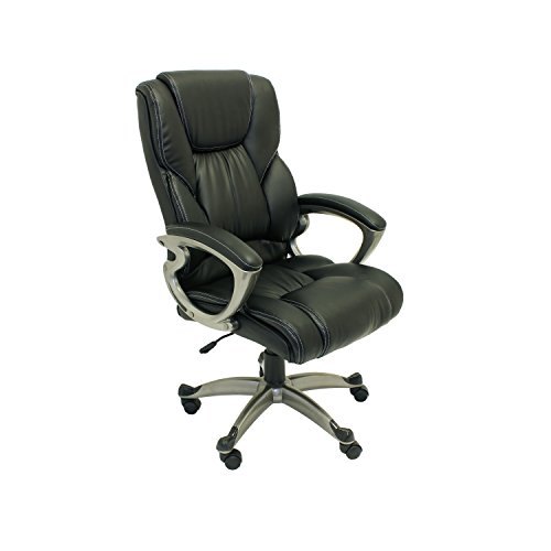 ALEKO ALC6121BL Executive PU Leather High Back Ergonomic Office Desk Chair Ergonomic Computer Home 20 x 27 Inch Back Black